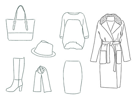 Vector stylish fashion set of woman autumn, spring or winter clothes and accessories. Casual silhouette outfit with jumper, skirt, coat, scarf, bag, hat and boots. EPS8