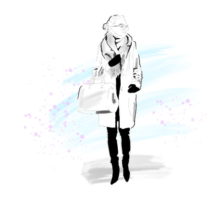 Stylish Girl in winter coat, scarf and with bag. The girl is a hipster. Painted by hand. Black and white with colorful background. Vector. EPS 10 Vettoriali