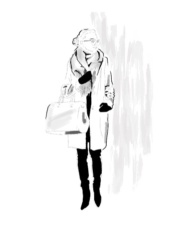 Stylish Girl in winter coat, scarf and with bag. The girl is a hipster. Painted by hand. Black and white. Vector. EPS 10 Archivio Fotografico - 127711566