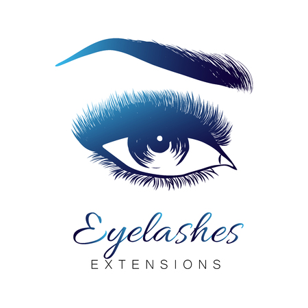 Lady stylish opened eye and brows with full lashes, beautiful women eyes makeup. Eyelashes exrensions. EPS 10
