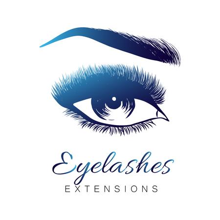 Oeil et sourcils ouverts élégants avec cils pleins, maquillage des yeux des belles femmes. Exrension des cils. EPS 10 Vecteurs