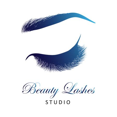 Dama de ojos cerrados con estilo y cejas con pestañas completas, maquillaje de ojos de mujeres hermosas. Logotipo de estudio de pestañas de belleza. EPS 10