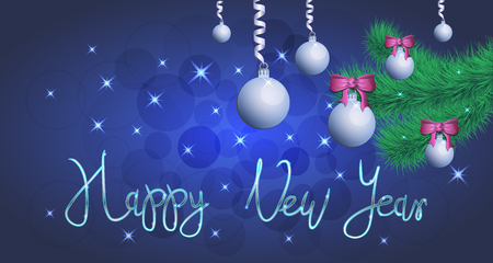 Brilliant Vector illustration of Stars and sparkles on blue background, with Christmas decorations, balls,spruce branch, hand lettering happy new year, fond for winter holidays, banner, poster. EPS 10