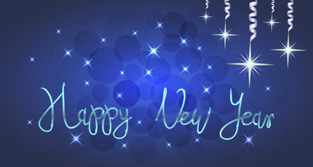 Brilliant Vector illustration of Stars and sparkles on blue background, with Christmas decorations, balls, hand lettering happy new year, fond for winter holidays, greetings, banner, poster, postcard. EPS 10