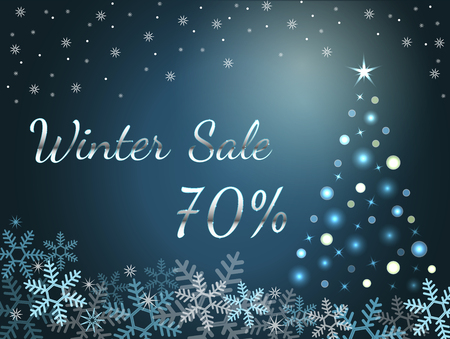 Elegant silver winter lettering design Winter sale 70% with shiny and bright snowflakes on blue background. Vector illustration EPS 10 Archivio Fotografico - 127220296