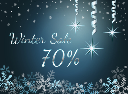Elegant silver winter lettering design Winter sale 70% with shiny and bright snowflakes on blue background. Vector illustration EPS 10 Archivio Fotografico - 127220298