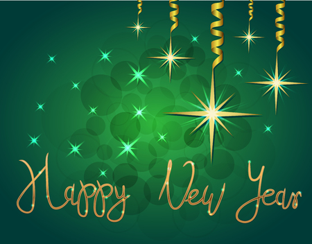 Brilliant Vector illustration of Stars and sparkles on green background and hand lettering congratulation happy new year, fond for winter holidays, greetings, banner, poster, postcard. EPS 10 Vettoriali