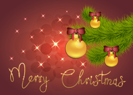 Brilliant Vector illustration of Stars and sparkles on red background, with Christmas decorations, balls, spruce branch, hand lettering merry christmas, banner, poster. EPS 10