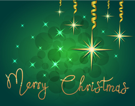 Brilliant Vector illustration of Stars and sparkles on green background and hand lettering congratulation merry christmas, fond for winter holidays, greetings, banner, poster, postcard. EPS 10