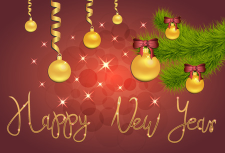 Brilliant Vector illustration of Stars and sparkles on red background, with Christmas decorations, balls,spruce branch, hand lettering happy new year, fond for winter holidays, banner, poster. EPS 10 Archivio Fotografico - 127139004