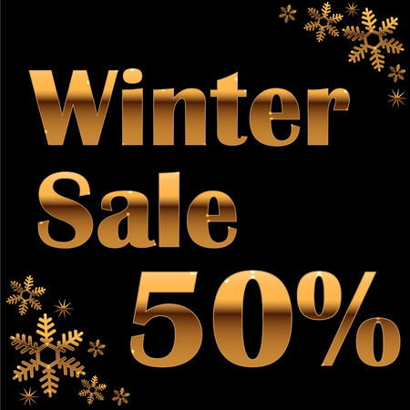 Elegant gold winter lettering design Winter sale 50% with shiny and bright snowflakes on black background. Vector illustration EPS 10 Illustration