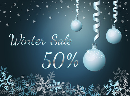 Elegant silver winter lettering design Winter sale 50% with shiny and bright snowflakes on blue background. Vector illustration EPS 10 Vettoriali