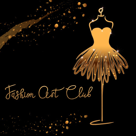 gold  Fashion studio. Custom handmade calligraphy Fashion art club, Vector brush lettering for fashion salon. EPS 10