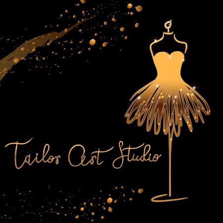 gold Logo Fashion studio. Custom handmade calligraphy Tailor art club, Vector brush lettering for fashion salon. EPS 10