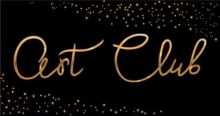 Gold Fashion studio. Custom handmade calligraphy Art club, Vector brush lettering for fashion salon. EPS 10 Vektorové ilustrace