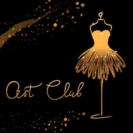 oro Logo Studio di moda. Calligrafia personalizzata fatta a mano Art club, lettering pennello vettoriale per salone di moda. EPS 10