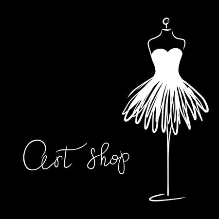 Logo Fashion studio. Custom handmade calligraphy Art shop, Vector brush lettering for fashion salon. EPS 10