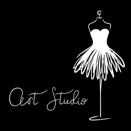 Logo Fashion studio. Custom handmade calligraphy Art studio, Vector brush lettering for fashion salon. EPS 10 Logo