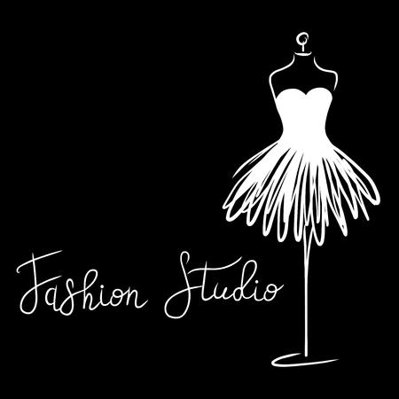 Logo Fashion studio. Custom handmade calligraphy Fashion studio, Vector brush lettering for fashion salon. EPS 10