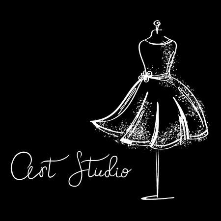 Logo Fashion studio. Custom handmade calligraphy, Vector brush lettering for fashion salon.