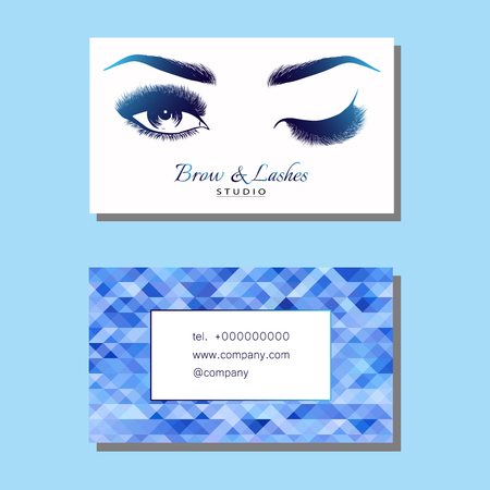 Business card with Beautiful girl brow and eye