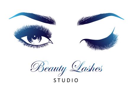 Lady stylische Augen und Brauen mit vollen Wimpern Vektorgrafik