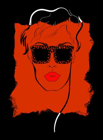 Women face vector. poster for advertising, portrait Vettoriali