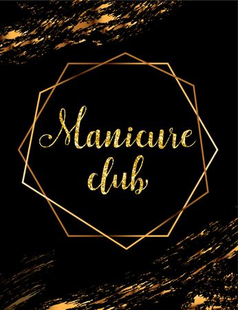 Manicure club vector poster with gold headline