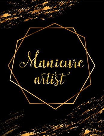 Manicure artist vector poster with gold headline