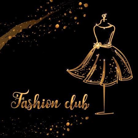 Gold Logo Fashion studio. Custom handmade calligraphy fashion club, Vector brush lettering for fashion salon. EPS 10
