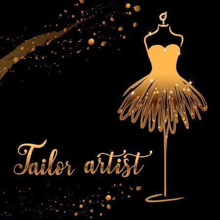 Gold Logo Fashion studio. Custom handmade calligraphy tailor artist, Vector brush lettering for fashion salon. EPS 10
