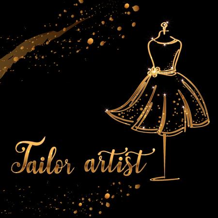 Gold Logo Fashion studio. Custom handmade calligraphy tailor artist, Vector brush lettering for fashion salon. Vettoriali