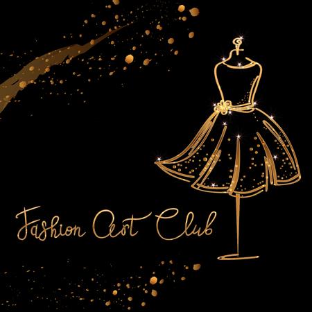gold Logo Fashion studio. Custom handmade calligraphy Fashion art club, Vector brush lettering for fashion salon.