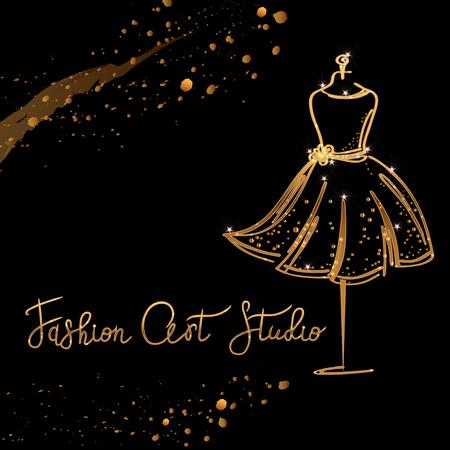 Gold Logo Fashion studio. Custom handmade calligraphy Fashion art studio, Vector brush lettering for fashion salon. Vettoriali