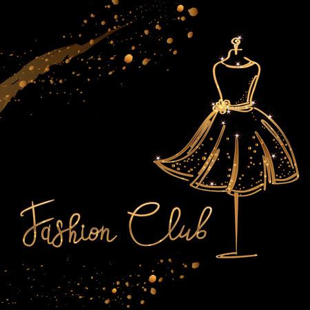 Gold Logo Fashion studio. Custom handmade calligraphy Fashion club, Vector brush lettering for fashion salon.
