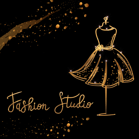 Gold Logo Fashion studio. Custom handmade calligraphy Fashion studio, Vector brush lettering for fashion salon.