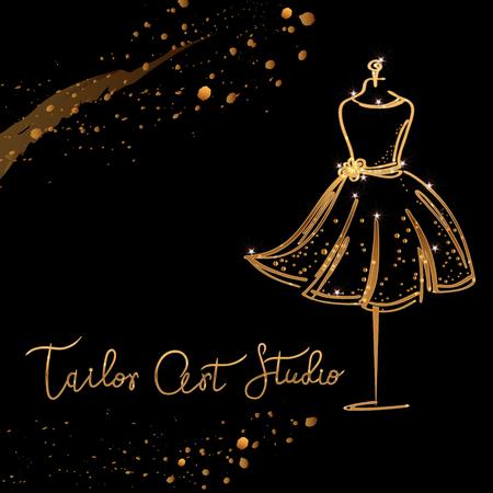 gold Logo Fashion studio. Custom handmade calligraphy Tailor art studio, Vector brush lettering for fashion salon.