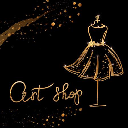 gold Logo Fashion studio. Custom handmade calligraphy Art shop, Vector brush lettering for fashion salon.