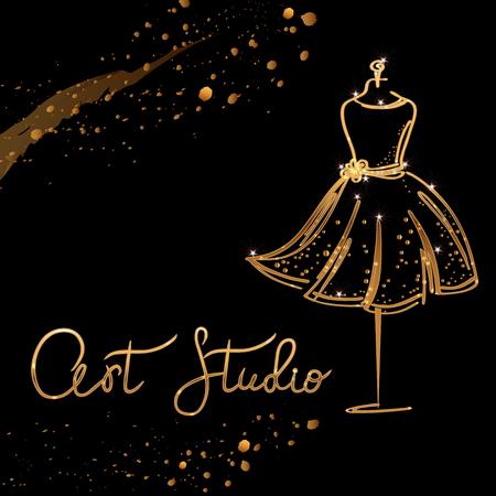 gold Logo Fashion studio. Custom handmade calligraphy Art studio, Vector brush lettering for fashion salon.
