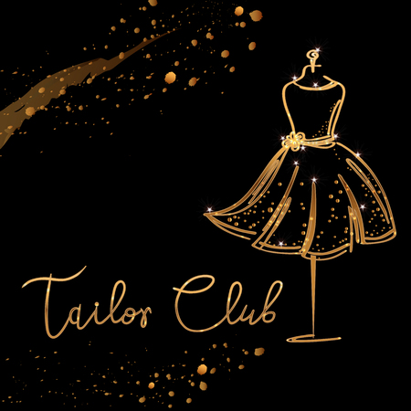 gold Logo Fashion studio. Custom handmade calligraphy Tailor club, Vector brush lettering for fashion salon.