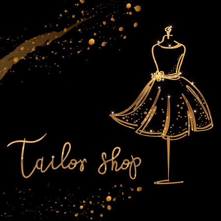 gold Logo Fashion studio. Custom handmade calligraphy Tailor shop, Vector brush lettering for fashion salon.
