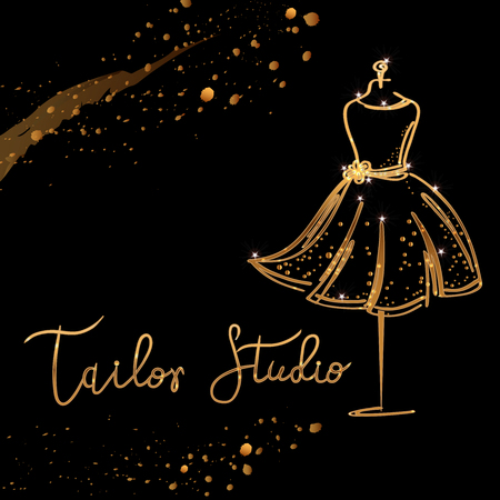 gold Logo Fashion studio. Custom handmade calligraphy Tailor studio, Vector brush lettering for fashion salon.
