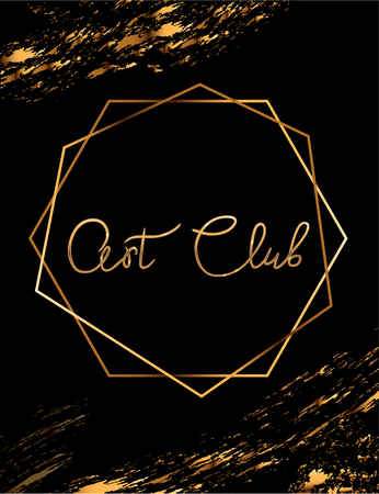 Fashion party vector poster with gold crystal glare headline, Fashion logo Art Club, banner for tailor, signboard