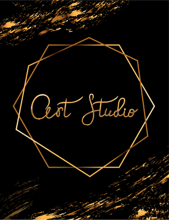 Fashion party vector poster with gold crystal glare headline, Fashion logo Art studio, banner for tailor, signboard Vettoriali