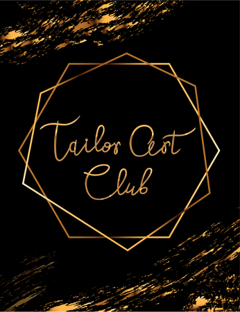 Fashion party vector poster with gold crystal glare headline, Fashion logo Tailor Art Club, banner for tailor, signboard