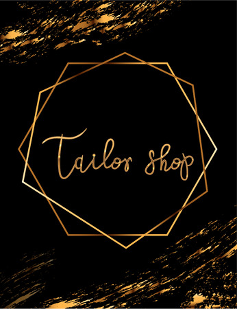 Fashion party vector poster with gold crystal glare headline, Fashion logo Tailor shop, banner for tailor, signboard