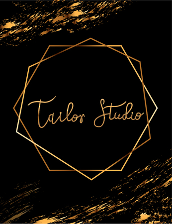 Fashion party vector poster with gold crystal glare headline, Fashion logo Tailor studio, banner for tailor, signboard