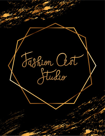 Fashion party vector poster with gold crystal glare headline, Fashion logo Art Studio, banner for tailor, signboard
