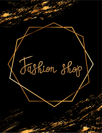 Fashion party vector poster with gold crystal glare headline, Fashion logo Fashion shop, banner for tailor, signboard