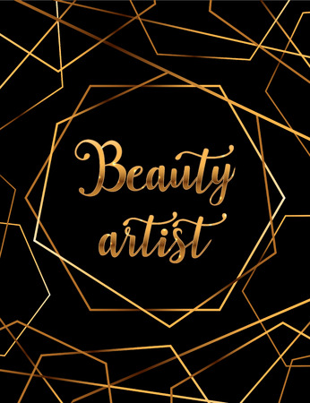 Beauty artist vector poster with gold headline